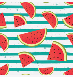 watermelon slices on striped background vector image