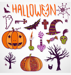 Whimsical halloween doodle sketches hand drawn vector