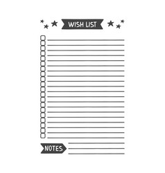 Wish list printable organizer vector