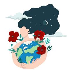 woman hugs earth isolate on a white vector image