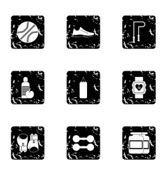 Workout icons set grunge style vector