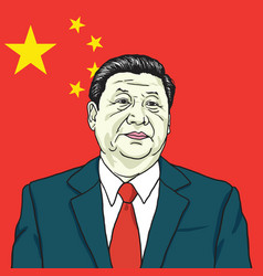 Xi jinping china flag cartoon vector
