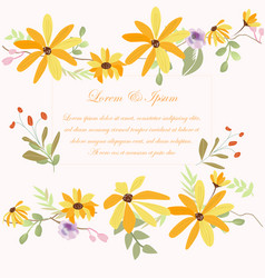 yellow flowr wedding card vector image