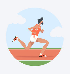 Young man attractive running in racetrack vector