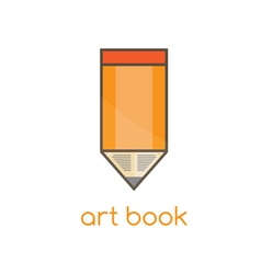 art book flat design template with pencil vector image