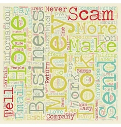 Beware Of Home Business Scams text background vector image vector image