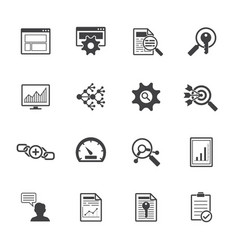 big data icons set seo concept vector image vector image