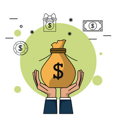colorful background of hands holding up money bag vector image