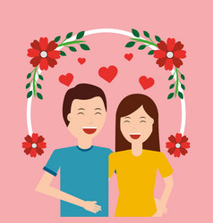 cute happy couple together love with floral vector image