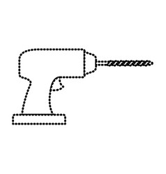 drill tool icon monochrome dotted silhouette vector image vector image