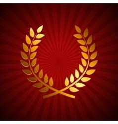 Gold Award Laurel Wreath Winner Leaf label vector image