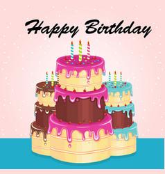 happy birthday three cake background image vector image