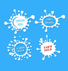 Milk labels set Splash shapes design vector image vector image
