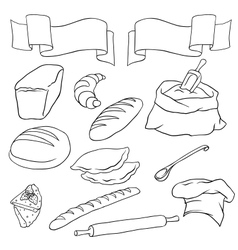 set on the Bread theme Isolated vector image