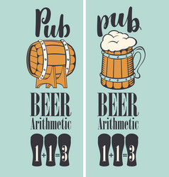 banner for pub with beer on tap in a retro style vector image vector image
