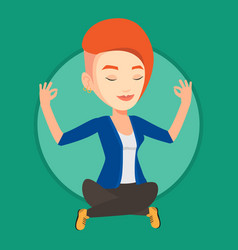 businesswoman meditating in lotus position vector image