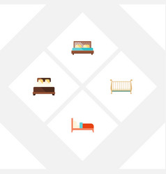 Flat bedroom set of cot bearings hostel and vector