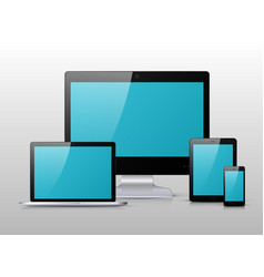 black electronic device with blue screen vector image vector image