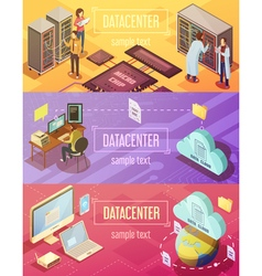 Datacenter Isometric Banners Set vector image