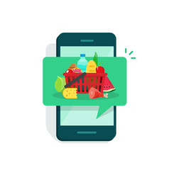food on mobile phone screen vector image vector image