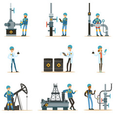 happy people working in oil industry set of vector image vector image