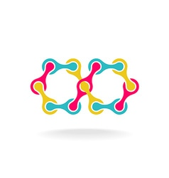 Infinity chain with segments colorful rainbow logo vector image vector image