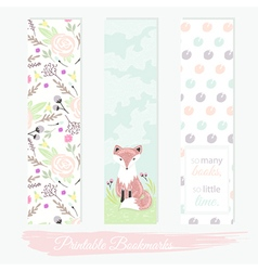 Printable bookmarks with flowers fox vector image vector image