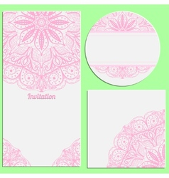 Set of invitation cards with beautiful pink lace vector image vector image
