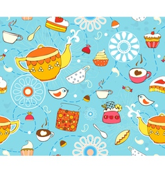 Tea Cake Seamless Background vector image