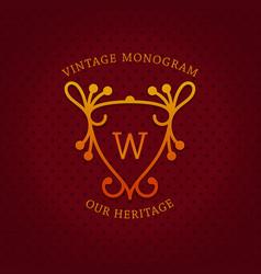 vintage monogram template design vector image