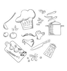 Chef preparing vegetarian salad sketch icons vector image vector image