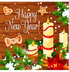 christmas and new year wreath on wooden background vector image