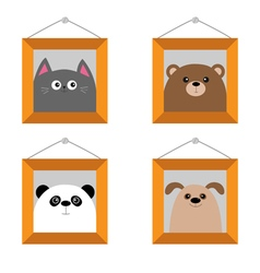 Dog bear cat panda head Picture frame hanging on vector image vector image