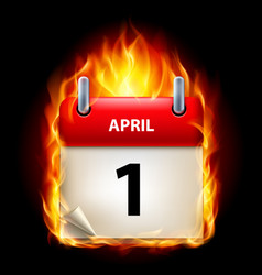first april in calendar burning icon on black vector image vector image