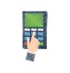 hand draw payment credit card dataphone color vector image