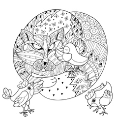 Hand drawn doodle outline fox sleeping with chiken vector image vector image