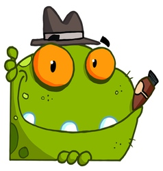 mobster frog with a hat and cigar vector image