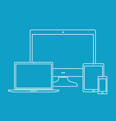 outline electronic devices on blue background vector image vector image