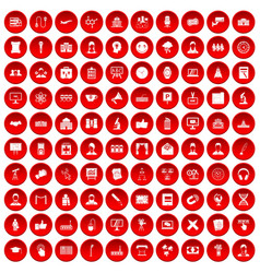 100 conference icons set red vector image