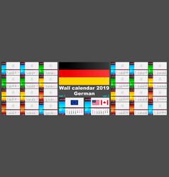 2019 deutsche german wall calendar two iso 8601 vector image
