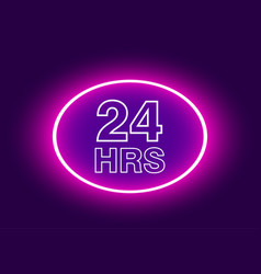 24 hours open sign purple neon billboard vector