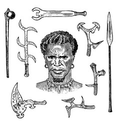 African tribe with spears and weapons portrait vector