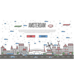 Amsterdam skyline with national famous landmarks vector