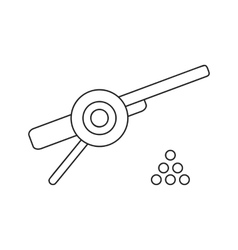 Ancient cannon with cannon balls thin line icon vector