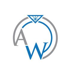 Aw letter ring logo vector