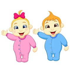 Baby boy and girl cartoon waving hand vector