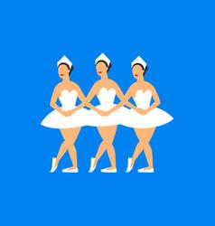 Ballet dancers three balerinas dancing swan lake vector