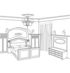Bedroom furniture room interior outline sketch vector