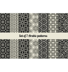 Black and white arabic style patterns vector
