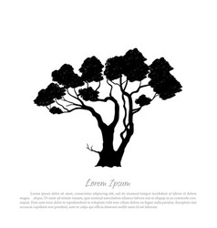 Black silhouette of a tree on white background vector